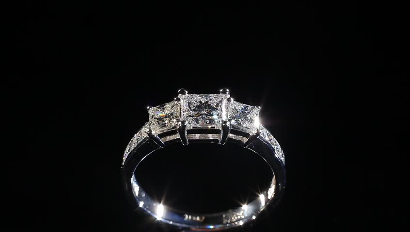 Expensive Silver Diamond Ring Turning Stock Footage Video (100 ...