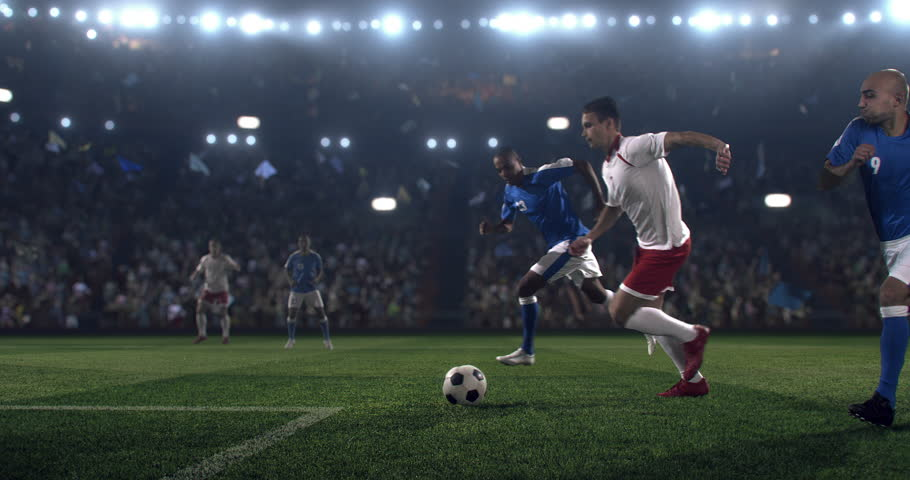 Soccer player performs outstanding play during a soccer game on a professional outdoor soccer stadium. Player wears unbranded uniform. Stadium and crowd are made in 3D. | Shutterstock HD Video #28910461
