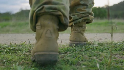 Soldiers' feet walking