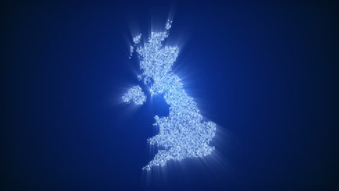 Numbers and symbols form United Kingdom Of Great Britain and Northern Ireland country silhouette on dark blue background. More countries on different backgrounds available - check my portfolio.