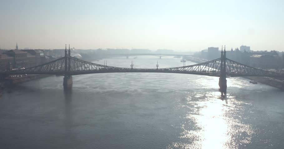 Aerial view of Budapest - Freedom Bridge - Szabadság híd | Shutterstock HD Video #28935367