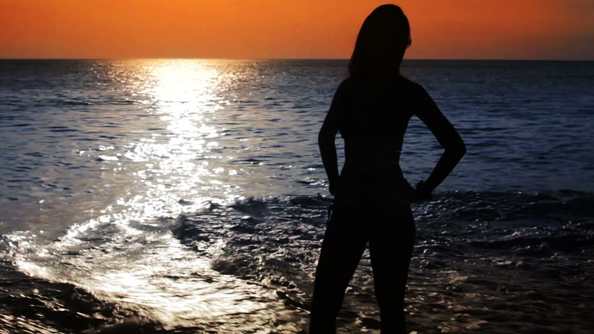 Silhouette Of A Hot Girl Standing On The Beach During