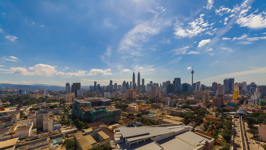 Time lapse: Kuala Lumpur city view during morning overlooking the city skyline, 4k, ProRes.   Shutterstock HD Video #28957321