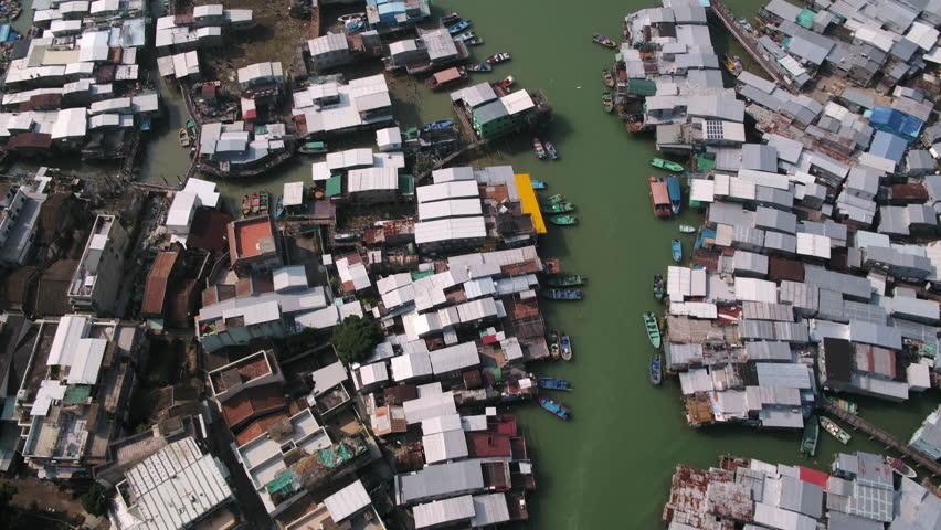 Hong Kong Aerial v93 Vertical birdseye view over fishing village Tai O