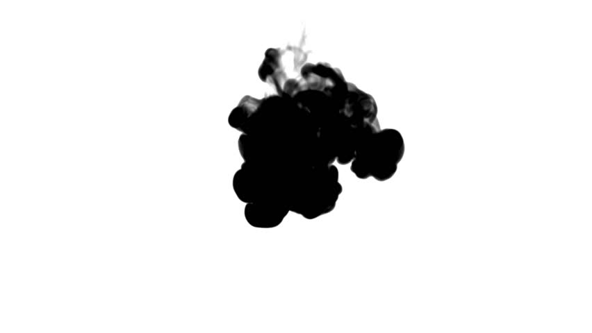 Black ink flows on white moving in slow motion, ink or smoke inject . Black colour spray in water for Inky or smoky background or ink effects. Use luma matte like alpha mask or alpha channel | Shutterstock HD Video #28984447