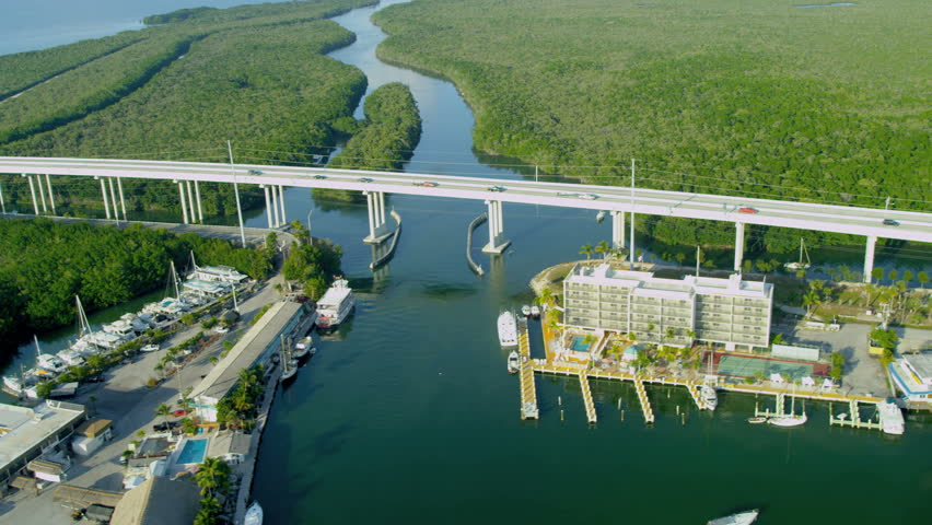 Aerial view coastal Route US 1 elevated bridge Highway to Florida Keys Southern Florida USA RED EPIC