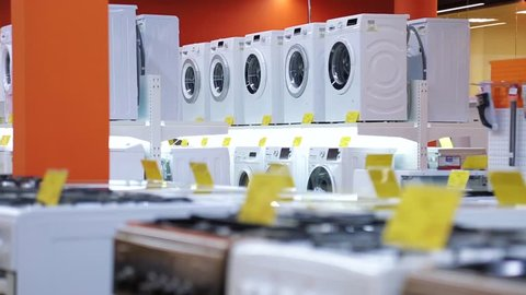 selling washing machines in home appliances store