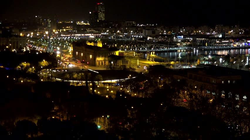 4K Timelapse of night traffic car in Barcelona port, people travel  | Shutterstock HD Video #29022607