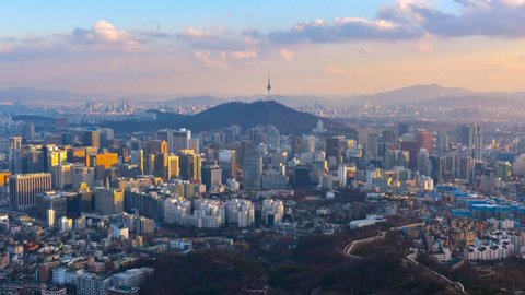 Time lapse of Seoul City Skyline, South Korea.