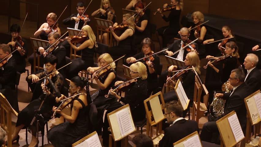KHARKIV, UKRAINE, 29 JUNE 2017 : Concert of the symphony orchestra. violins