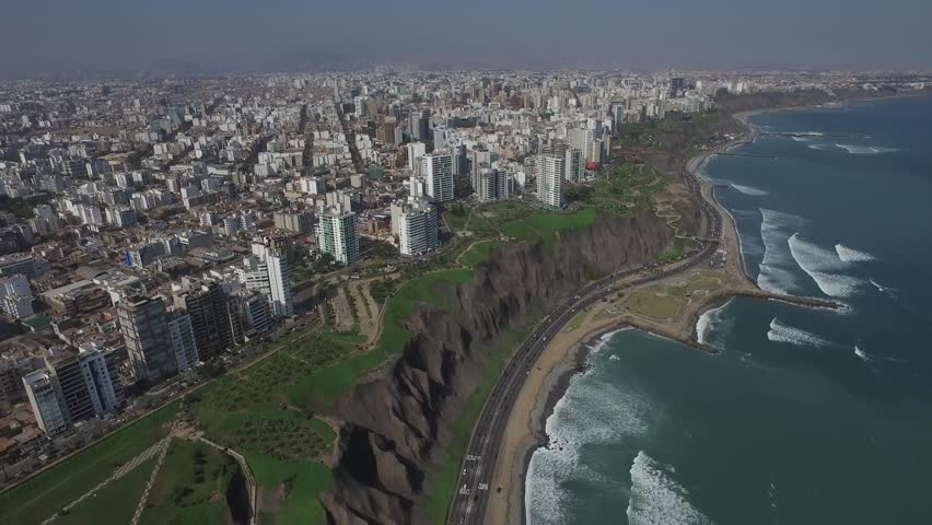 LIMA, PERU: Aerial view of Miraflores, Right travelling.