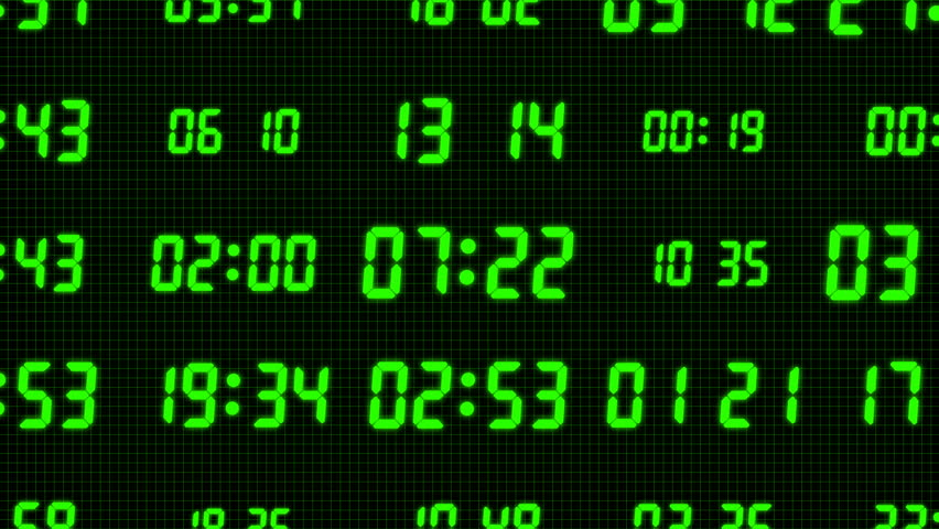 Animation of Green Digital Clock Background. Seamless Loop.   Shutterstock HD Video #29089117