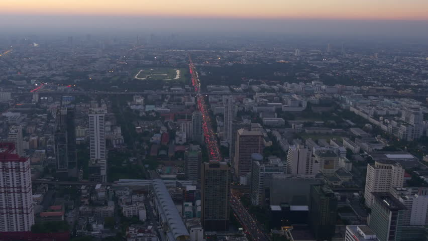 sunset evening bangkok city hotel rooftop aerial traffic panorama 4k thailand #29093797