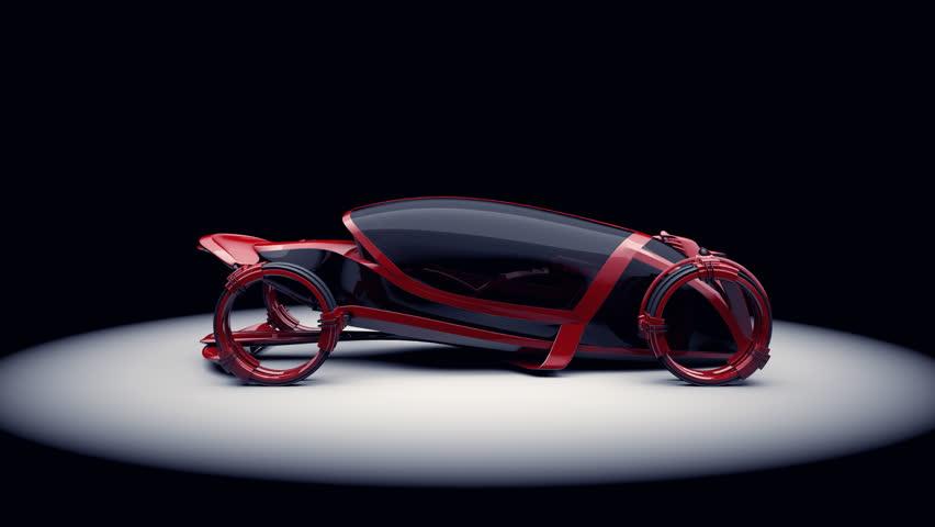 Futuristic concept car red rotating LOOP + ALPHA