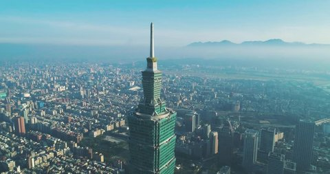 360 degree aerial close shot of Taipei  101, Taiwan