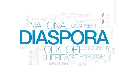 Diaspora animated word cloud, text design animation. Kinetic typography.