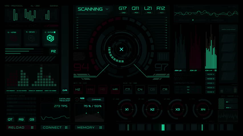 Futuristic interface/Digital screen/Ultra detailed abstract digital background. Blinking and switching indicators and statuses showing work of command center,processing big data, machine deep learning