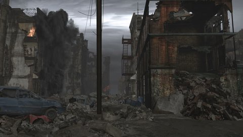 Street level , dolly right to left through the rubble and debris in a Post apocalyptic city.