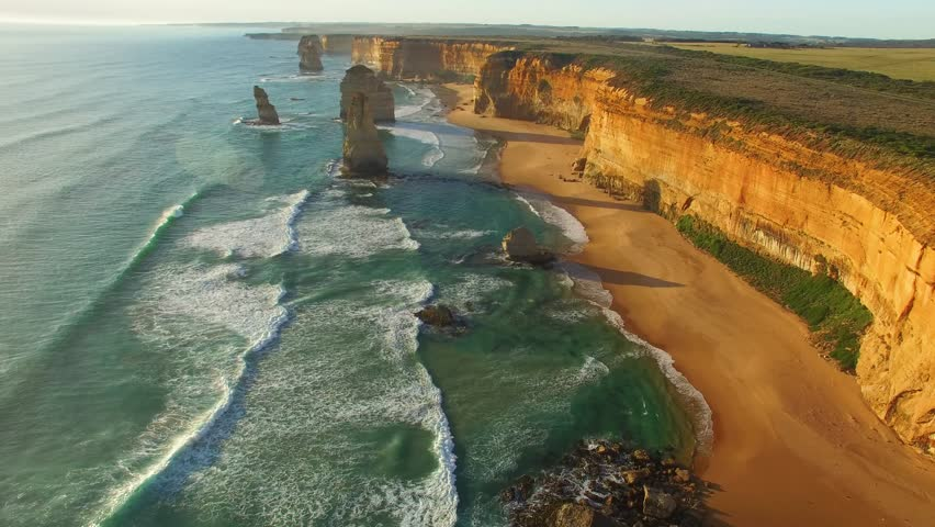 Twelve Apostles wonderful aerial view at sunset - Victoria, Australia. | Shutterstock HD Video #29117437