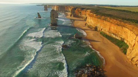 Twelve Apostles wonderful aerial view at sunset - Victoria, Australia.
