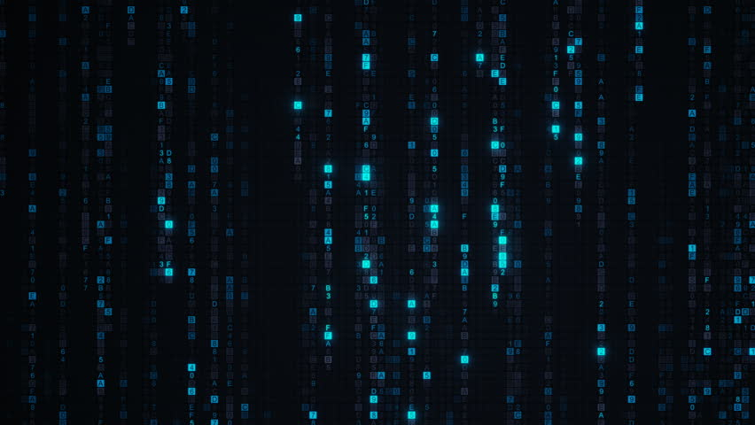 Blue matrix rain of digital HEX code. Computer generated abstract technology concept. Seamless loop animation 4k UHD (3840x2160) | Shutterstock HD Video #29140867