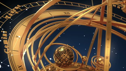 Armillary Sphere And Zodiac Signs On Blue Background. 3D Animation.