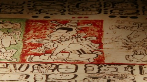 Maya codices, folding books, Mayan hieroglyphic script, close up.
