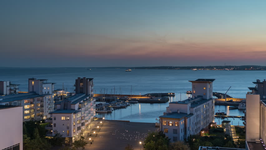 Time lapse over downtown Helsingborg