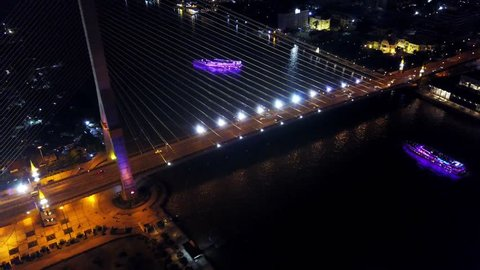 Bangkok,Thailand, aerial night view from the drone  on the bridge Rama VIII, at Chao Phraya river