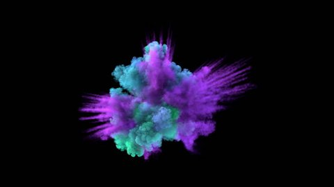 Colored middle size explosion with trails (with alpha channel). Smoke density - normal. Separated on pure black background.