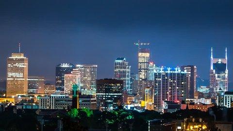 Nashville skyline at night time lapse 4k 1080p - time lapse of nashville tennessee downtown at night