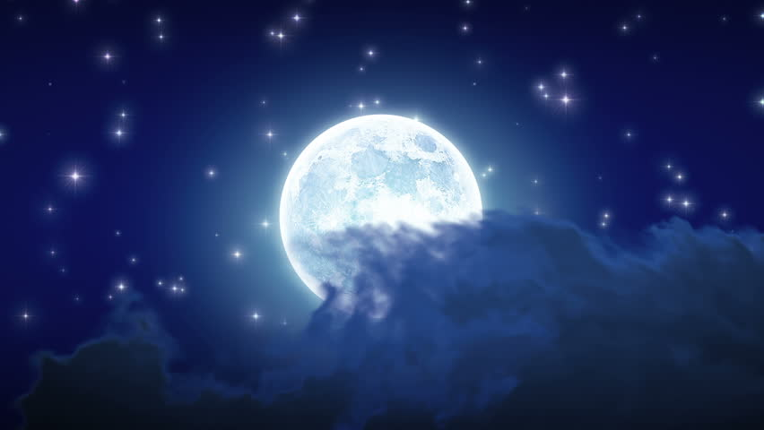 Beautiful Moon Shine with Stars and Clouds. Looped animation. HD 1080.