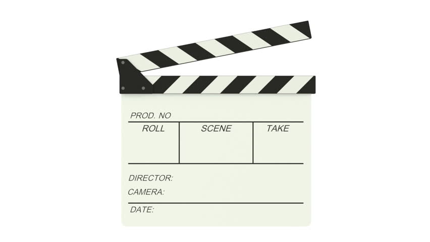 3D Animation.  Clapper board on green screen background