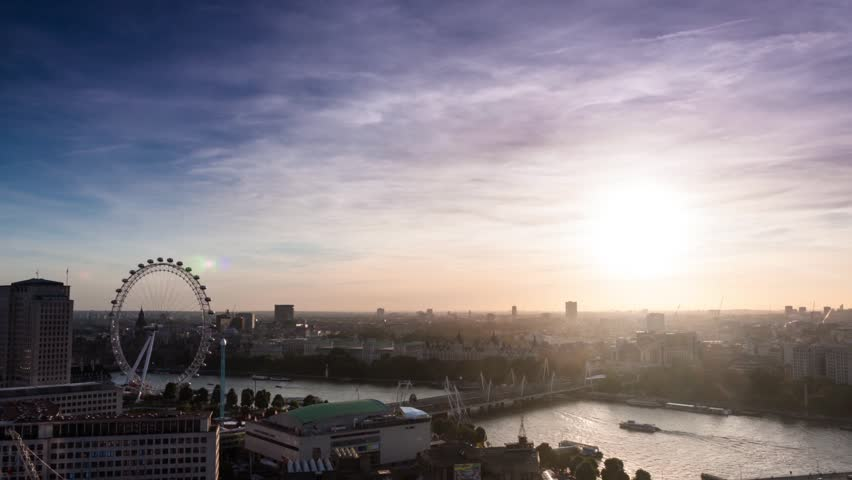 London skyline sunset time lapse