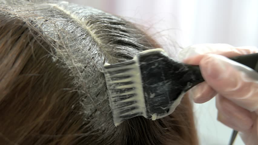 Hair Dying Process, Close Up. Hand And Brush, Hair Color. Stock ...