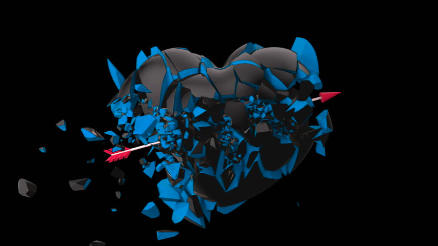 Broken Heart Hit by Cupid Arrow Shattered Into Pieces w Alpha Matte