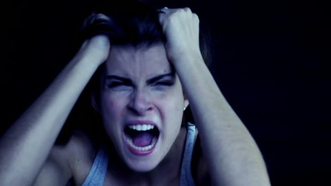 Woman screaming at night after violence slow motion