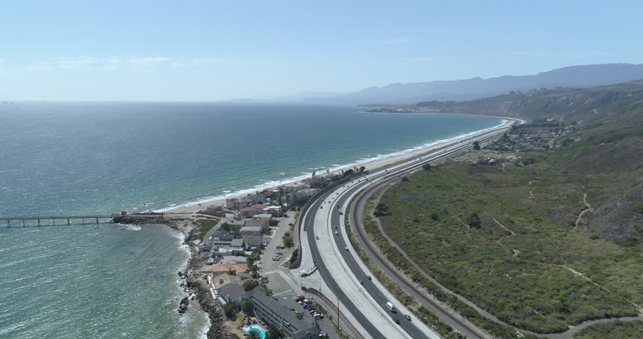 Aerial 4k source 101 highway Ventura California coastline at noon - medium traffic - h265 converted to prores444 Phantom 4 pro - color grades better than other Phantom footage 6 in the set | Shutterstock HD Video #29304757