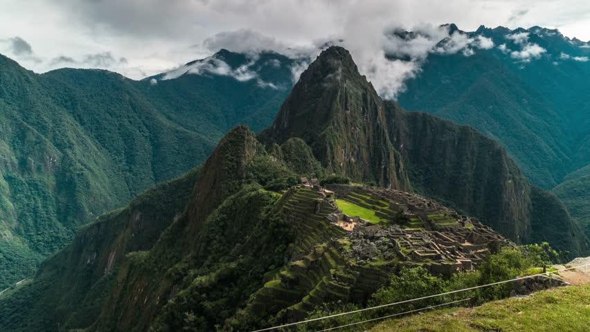 machu picchu ancient city of the inca with lama  near