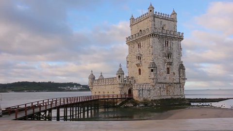 Belem Tower on the bank of Tagus River, Portugal