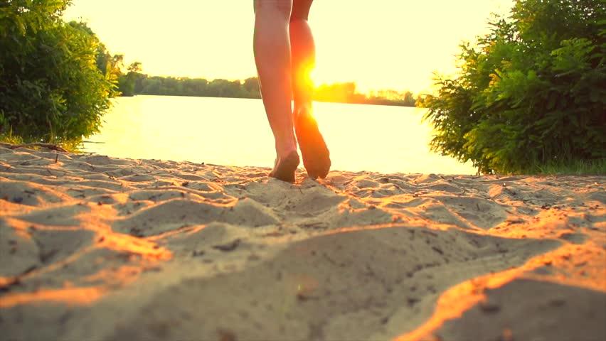 Woman white dress sun setting on beach images