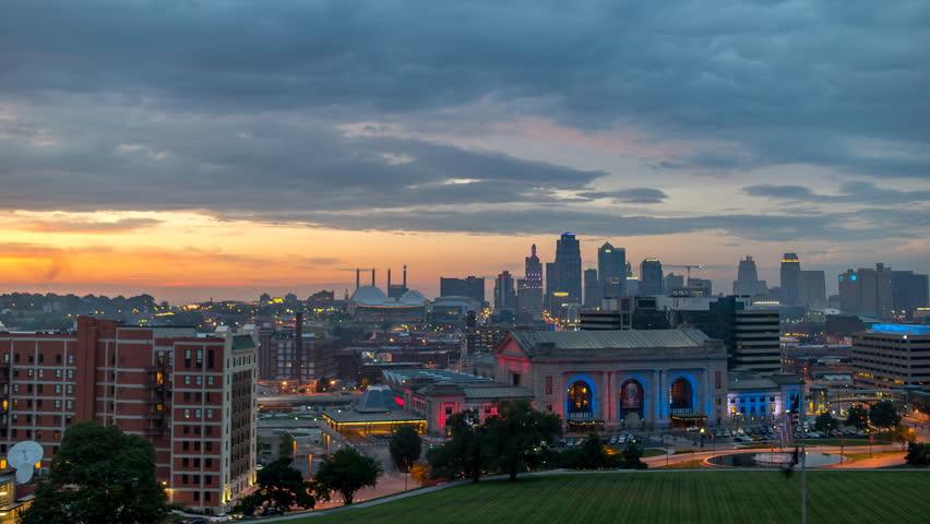 Beautiful Kansas City Sunset 4th of July 4K 1080p - Time lapse of 4th of July fireworks and sunset in Kansas City Missouri