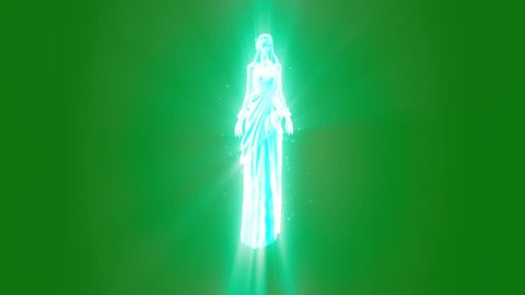 Ghost Goddess Divine Apparition Green Screen 3D Rendering Animation