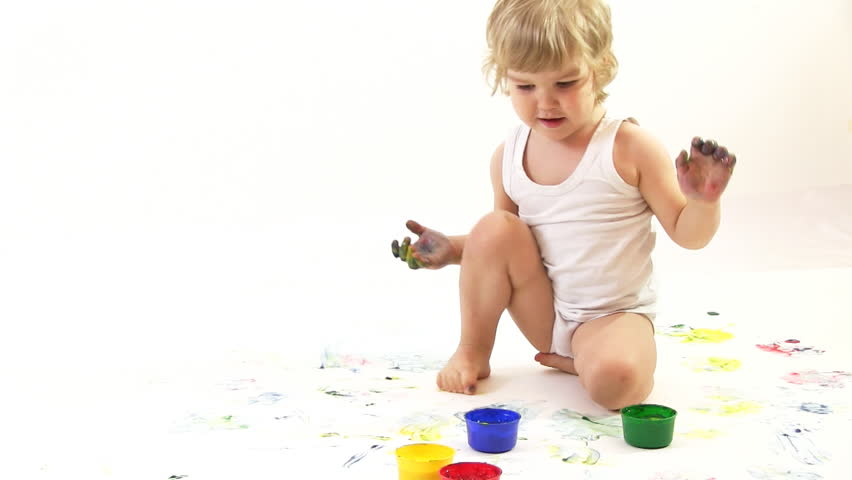 boy painter in the studio