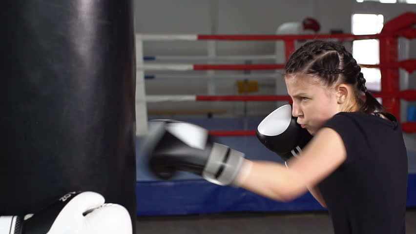 In Boxing Gloves On Training Slow Motion Hd Stock Clip