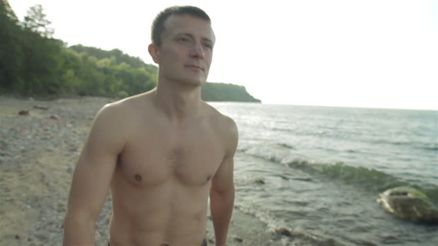 Slow Motion Young Half Naked Man Walk Along The Beach In -1189