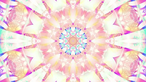 Pastel kaleidoscope sequence patterns. Abstract multicolored motion graphics background. Or for yoga, clubs, shows, mandala, fractal animation. Beautiful bright ornament. Seamless loop.