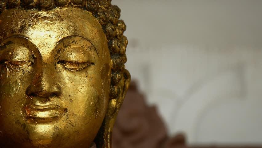 Golden Buddha Statue Face in Khaowong temple. HD