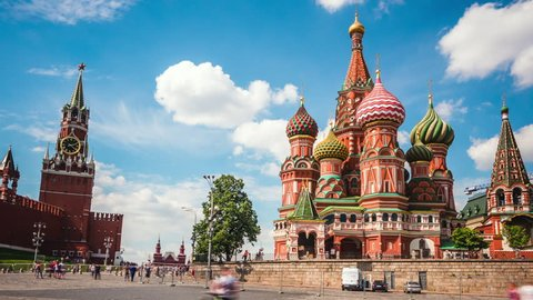 Moscow Red Square, time lapse view of Kremlin and St. Basil's Cathedral in Moscow, Russia. Zoom out.