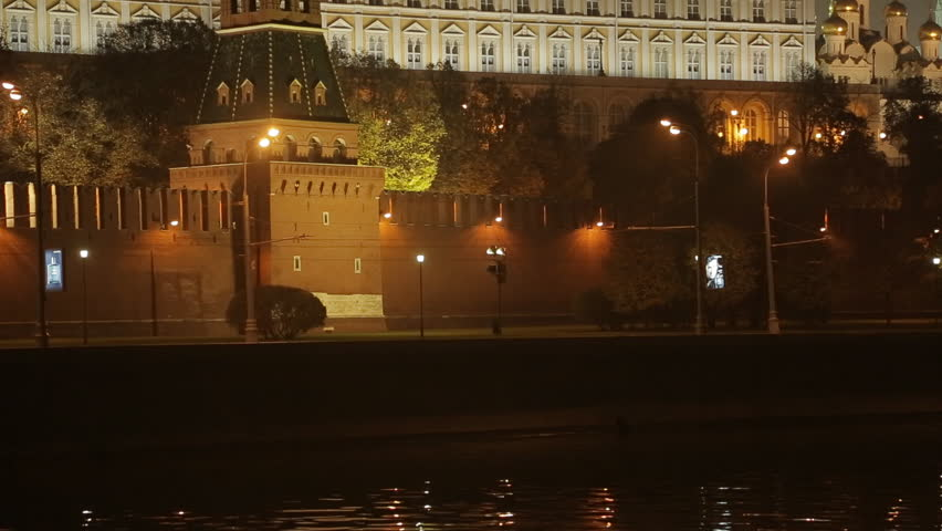 night view on the Kremlin embankment. Moscow, Russia,  panorama